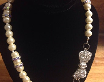 Ivory glass Pearl necklace with infinity pendant and