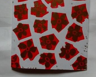 hand printed lino cut flower card