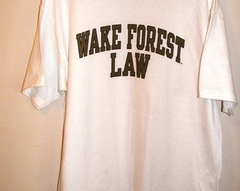 Wake Forest Law vintage t shirt Size Large White