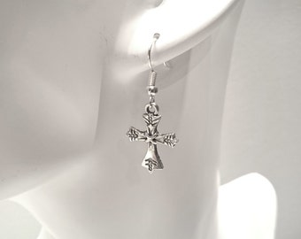 Cross Earrings -Silver Plated Earwires- Antique Silver Pendant