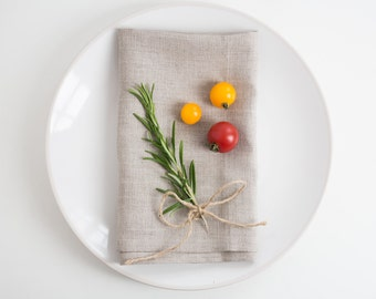 Natural Linen Table Napkins | Set of 6