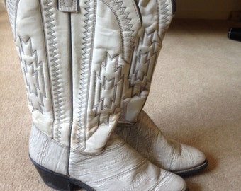 Cream Leather Cowboy Boots Size 7.5 Womens