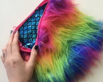 Rainbow Mermaid Clutch/Make-up Pouch