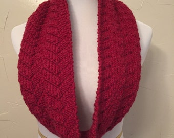Cranberry Mock Cable Cowl
