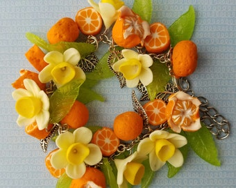 Polymer clay oranges and leaves bracelet on silver color chain