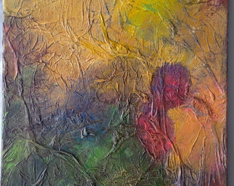 abstract acrylic faces; highly textured