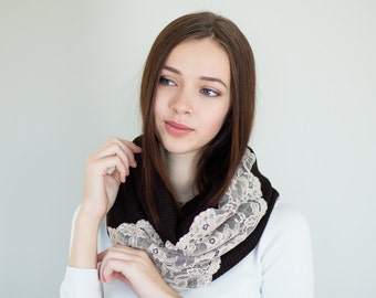 Jersey Knit Cowl Scarf with Lace | Infinity Scarf Fashion Scarves Womens Scarves | Dark Brown and Blush