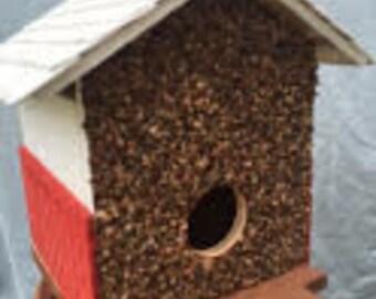 Brick with White Shingle Roof Birdhouse