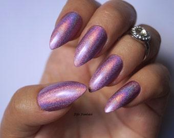 Holographic stiletto nails , Holographic nails, Purple nails, Fake nails, False nails, Kylie jenner, Press on nails, Acrylic Nails, nails
