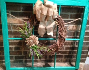 vintage window frame with wreath