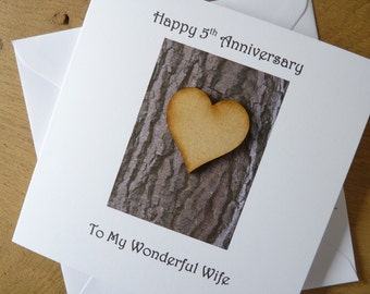 5th wedding anniversary card five years wood fifth anniversary card 5 years marriage