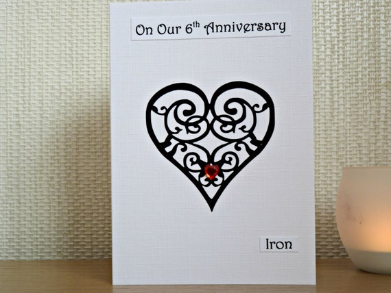 Sixth Wedding Anniversary Gift: 6th Wedding Anniversary Card Iron Sixth By DeshcaDesignsCards