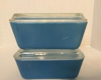 Vintage Blue Pyrex refrigerator dishes