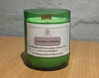 Recycled Beer Bottle Candle with Vanilla & Whisky Scent
