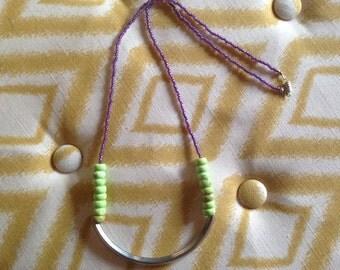 Beaded Statement Necklace / Boho Necklace / Purple Necklace / Long Necklace / Tube Bead Necklace / Color Block Necklace / Statement Jewelry