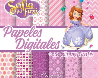12 papers digital Princess Sofia + Clipart
