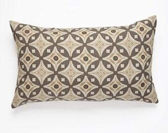 Elmas Handscreen Printed Cushion Cover - Stone Grey / Antique Beige 30x50cm