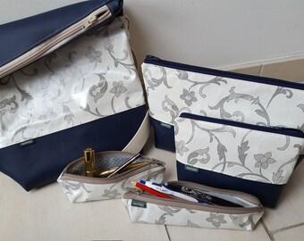 Panymoon set - shoulder bag, toiletry bags, Schminktäschli, Schminktäschli, Schreibstifttäschli - cream-blue