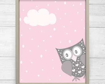 Owl Girl Nursery Print Owls in Love Nursery Wall Art Set Baby Girl Nursery Decor Pink Gray