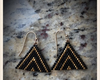 Triangle Beaded Earring, black and gold