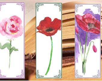 Watercolor Bookmarks, Instant Download Digital, Painting bookmark, Bookmarks watercolor, rose, poppies