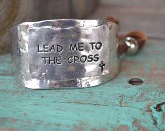 Silver Metal Lead Me To The Cross bracelet