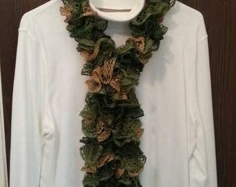 Women's Scarf - Sashay Yarn - Conga - Handmade - Knitted - Ruffle - Fashion - Wrap Scarf - Gift - Fall Fashion - Accessories - Scarves