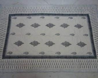 Block Print Indian Quilt 90x60 100% Cotton Floral Hand Print Kantha Quilt Rajai