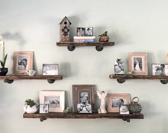 Set Of 4 Industrial ShelvingRustic Shelves Floating
