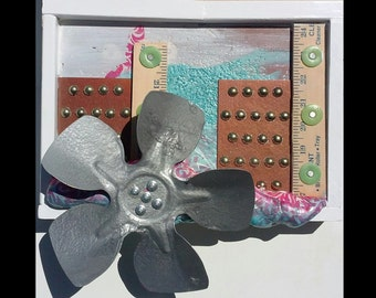 Recycled Mixed Media Assemblage Art on Salvaged Wood / Free Shipping!