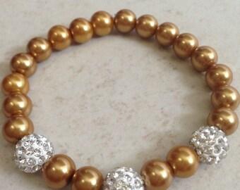 Handmade Glass Faux Pearl Bracelet