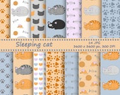 SALE Cat digital paper pack - 14 printable jpeg papers, 3600x3600 px, 300 dpi - Printable background