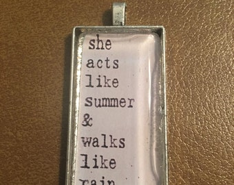 Drops of Jupiter Quote Glass Pendant