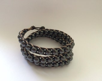 Chan luu inspired hematite tripple wrap bracelet