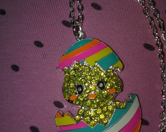 Baby Chick in Egg charm Necklace - Easter