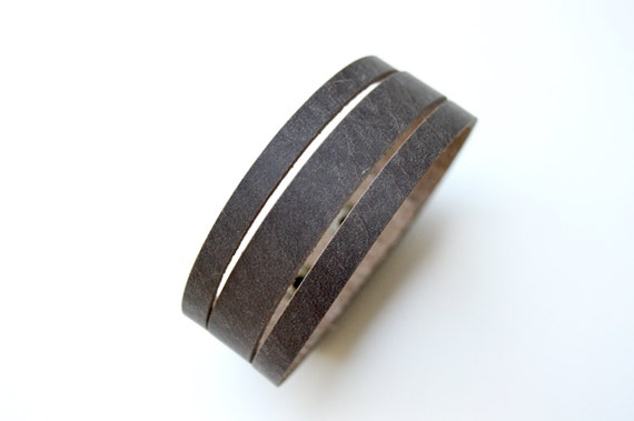 Simple Leather Cuff-- Rustic Brown Thin Split Leather Bracelet-- Faux Wrap Leather Cuff
