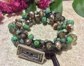 Back to Nature Hand Knotted Beaded Wrap Bracelet