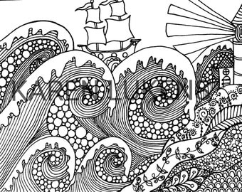 Ship and Sea, 1 Adult Coloring Book Page, Printable Instant Download