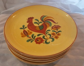 SALE!!Vintage Taylor Smith Taylor Reveille Rooster 8 Dinner Plates