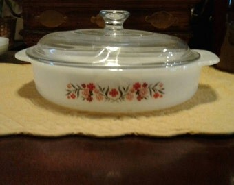 Vintage Fire King Primrose 8 inch Casserole with Lid