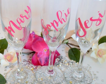 Personalized Bridesmaid Champagne Glasses, Personalized Champagne Flute, Wedding Party Gifts, Wedding Champagne Glasses, Bridesmaid Flute