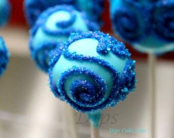 Cake Pops, Wedding, Bridal Party, Royal Blue on Baby Blue cake pops (Sugar sprinkles)