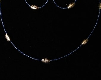 """20"""" Royal Blue Beaded Necklace  #13"""
