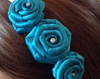 Turquoise Bridesmaid band, Wedding hair accessories, Bridesmaid Hair piece, Head band, Bridal, Wedding, flower girl, First Communion