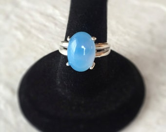 Blue Chalcedony / Sterling Silver Split-Shank Ring
