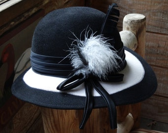 Ladies Vintage Black & White Dress Hat by McHenry's
