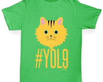Boy's Cats Have 9 Lives YOL9 T-Shirt