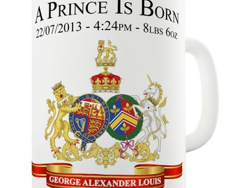 Commemorative William & Kate Royal Baby George Alexander Louis Ceramic Funny Mug