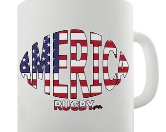 America Rugby Ball Flag Ceramic Mug