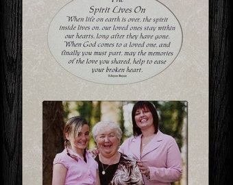THE SPIRIT LIVES On Picture & Poetry Memorial/Bereavement Keepsake Photo Frame